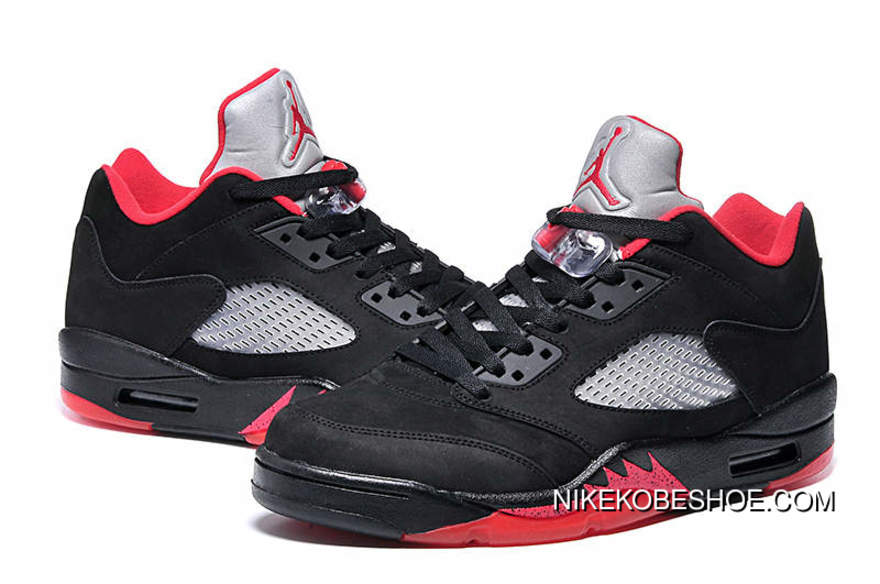 brand new 2d889 227fa Air Jordan 5 Low Black Grey Red TopDeals